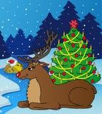 Paesaggio con la renna Illustrazione di Stock