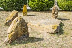 Paesaggio con la scultura antica della pietra di Scythian fotografia stock libera da diritti