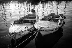 Paesaggio con le barche ed il mare fotografia stock libera da diritti
