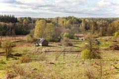 Paesaggio con le case del villaggio Immagine Stock Libera da Diritti