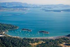 Paesaggio con le isole, vista superiore di Langkawi Fotografia Stock
