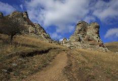 Paesaggio con le montagne della Crimea Immagini Stock