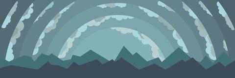 Paesaggio con le montagne e le nuvole Immagini Stock