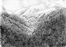 Paesaggio con le montagne ed il fiume Fotografia Stock