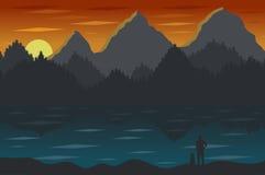 Paesaggio con le montagne ed il lago Fotografia Stock