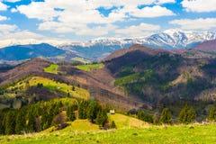 Paesaggio con le montagne in estate fotografie stock