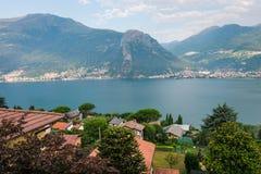Paesaggio con le nuvole, Laghetto di Piona del lago Como in Italia, alpi, Europa Immagini Stock Libere da Diritti