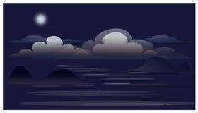 Paesaggio con le nuvole, luna, oceano Fotografie Stock