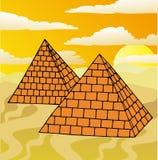 Paesaggio con le piramidi Illustrazione Vettoriale
