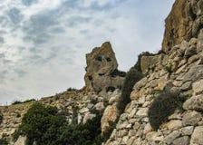 Paesaggio con le scogliere di Dingli e le viste maestose del mar Mediterraneo e della campagna fertile, Malta immagini stock