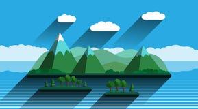 Paesaggio con progettazione piana delle montagne verdi Fotografia Stock Libera da Diritti