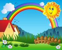 Paesaggio con Sun ed il Rainbow Fotografia Stock Libera da Diritti
