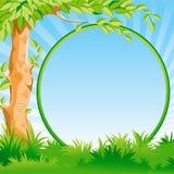 Paesaggio con un albero e un blocco per grafici Fotografie Stock Libere da Diritti