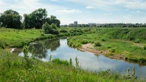 Paesaggio con un fiume Immagini Stock Libere da Diritti