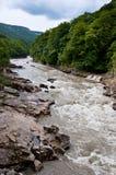 Paesaggio con un fiume della montagna Fotografie Stock