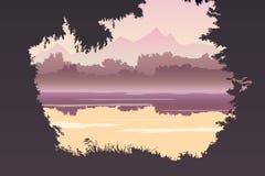 Paesaggio con un lago Paesaggio piano di colore Illustrazione di vettore Fotografie Stock Libere da Diritti