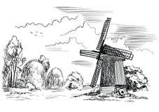 Paesaggio con un mulino a vento Illustrazione di vettore Fotografia Stock