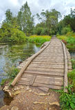 Paesaggio con un ponte di legno Fotografia Stock