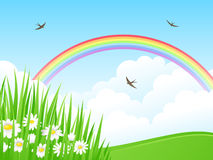 Paesaggio con un Rainbow. Fotografie Stock