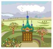 Paesaggio con una cappella Immagine Stock