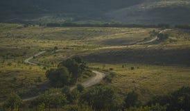 Paesaggio con una strada non asfaltata fotografie stock