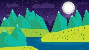 Paesaggio concettuale di progettazione piana moderna con la luna, le montagne, il fiume ed il lago Illustrazioni di belle scene d Fotografia Stock