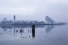 Paesaggio congelato della città, Norvegia Namsos Immagine Stock Libera da Diritti