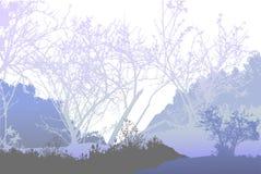Paesaggio congelato panoramico della foresta con le siluette delle piante e degli alberi illustrazione vettoriale