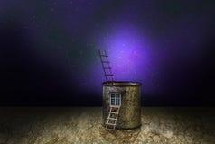 Paesaggio cosmico della casa misteriosa di fantasia illustrazione di stock