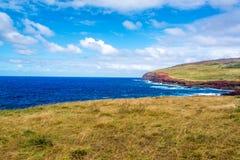 Paesaggio costiero dell'isola di pasqua Fotografia Stock