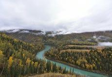 Paesaggio crescente della baia di Kanas dell'autunno! fotografia stock libera da diritti