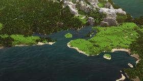 Paesaggio cubico del mare Immagine Stock Libera da Diritti