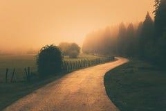 Paesaggio d'annata con un percorso nebbioso immagini stock