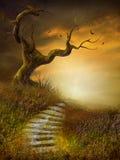 Paesaggio d'autunno con le scale