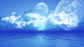 paesaggio 3D con i pianeti sopra l'oceano Immagini Stock Libere da Diritti