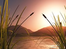 paesaggio 3D con le canne contro le montagne di tramonto royalty illustrazione gratis
