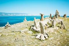 Paesaggio dal lago Baikal delle pietre Fotografia Stock
