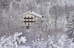 Paesaggio dalla Slovenia, area Zasavje di inverno fotografia stock
