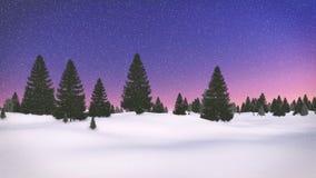 Paesaggio decorativo di inverno con gli abeti contro il cielo di alba Fotografia Stock