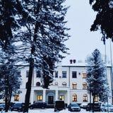 Paesaggio degli alberi della casa della neve di inverno Immagine Stock