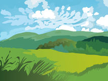 Paesaggio dei campi, dell'erba e del cielo verdi con le nuvole illustrazione vettoriale
