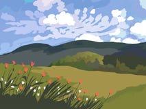 Paesaggio dei campi, dell'erba e del cielo verdi con le nuvole Immagini Stock
