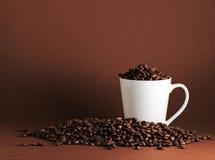 Paesaggio dei chicchi e della tazza di caffè Immagini Stock Libere da Diritti