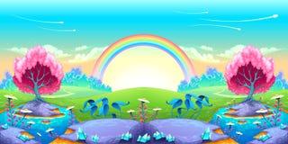 Paesaggio dei sogni con l'arcobaleno Immagini Stock Libere da Diritti