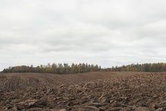 Paesaggio del campo arato nel giorno nuvoloso di autunno Immagine Stock Libera da Diritti
