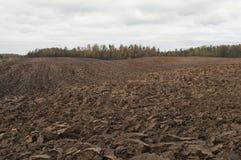 Paesaggio del campo arato nel giorno nuvoloso di autunno in campagna Fotografia Stock Libera da Diritti