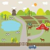 Paesaggio del campo e della collina dell'azienda agricola Fotografia Stock