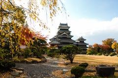Paesaggio del castello giapponese in autunno fotografia stock