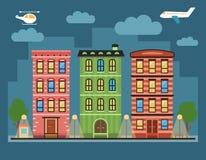 Paesaggio del centro della città variopinta adorabile con le varie case urbane, Fotografia Stock Libera da Diritti