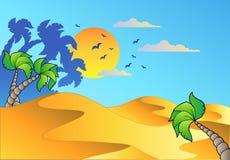Paesaggio del deserto del fumetto Immagini Stock Libere da Diritti